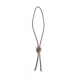Pleten usnjen trak z broško, pravi rog +bron